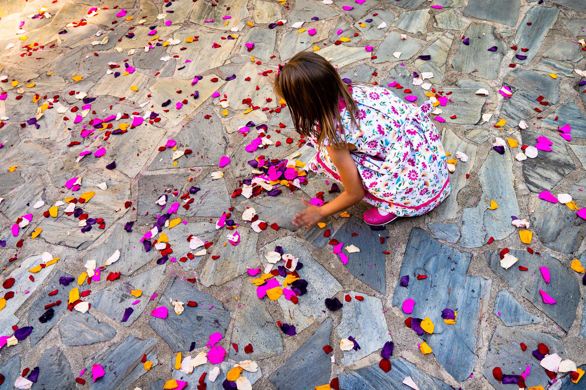 petalos de colores en la salida de los novios